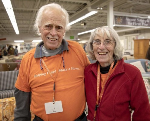 Ira and Barbara Smith, at Household Goods in Acton, Mass. (Robin Lubbock/WBUR)